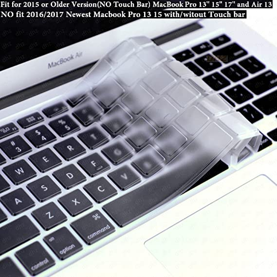 competitive price c4900 f698d DHZ Ultra Thin Transparent Keyboard Cover Soft TPU Skin for Only 2015 or  Older Version MacBook Pro 13