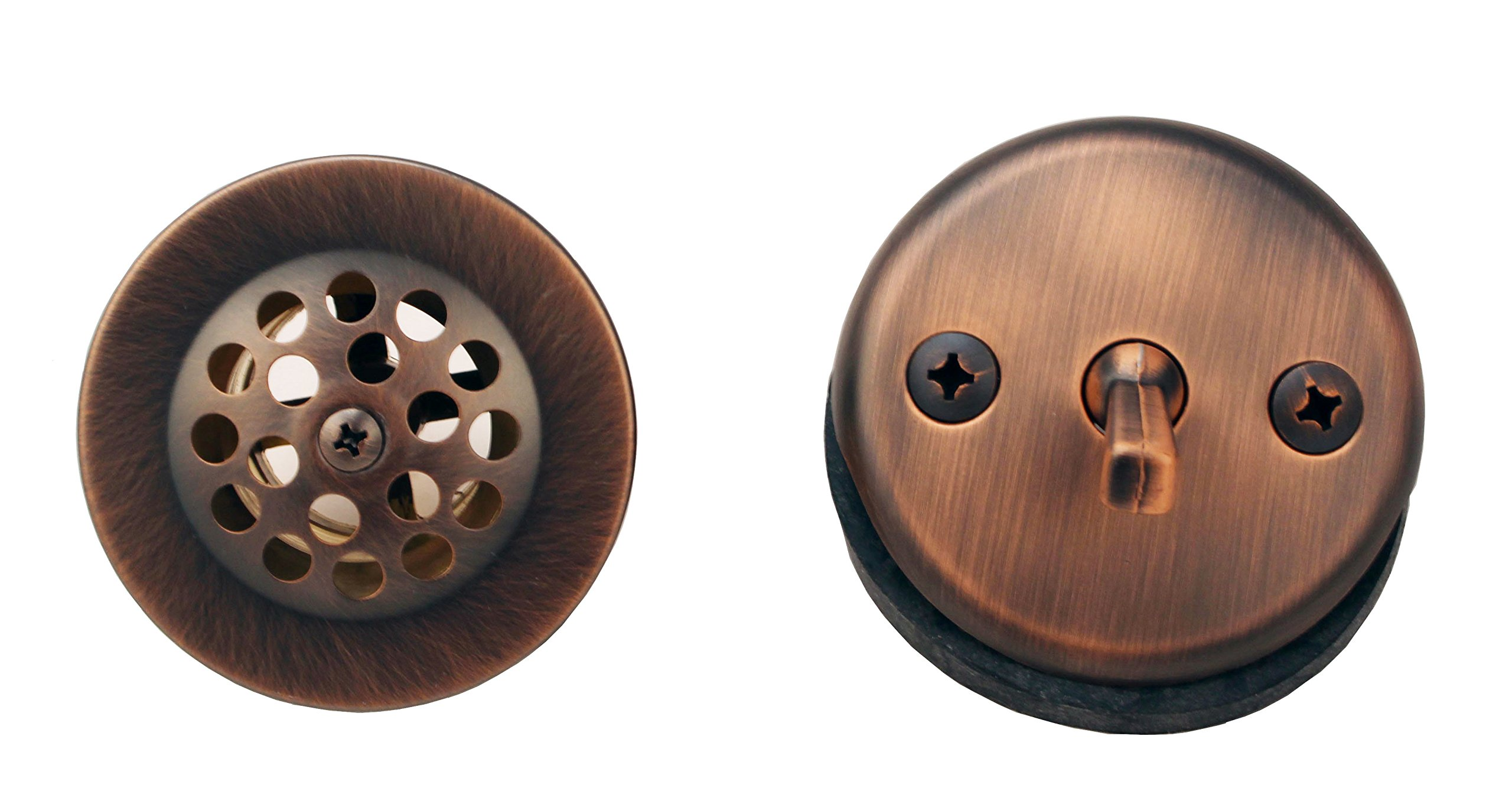 Bathtub Tub Replacement Drain Trim kit - Antique Copper Finish, Venetian Bronze, Trip Lever Type, By Plumb USA