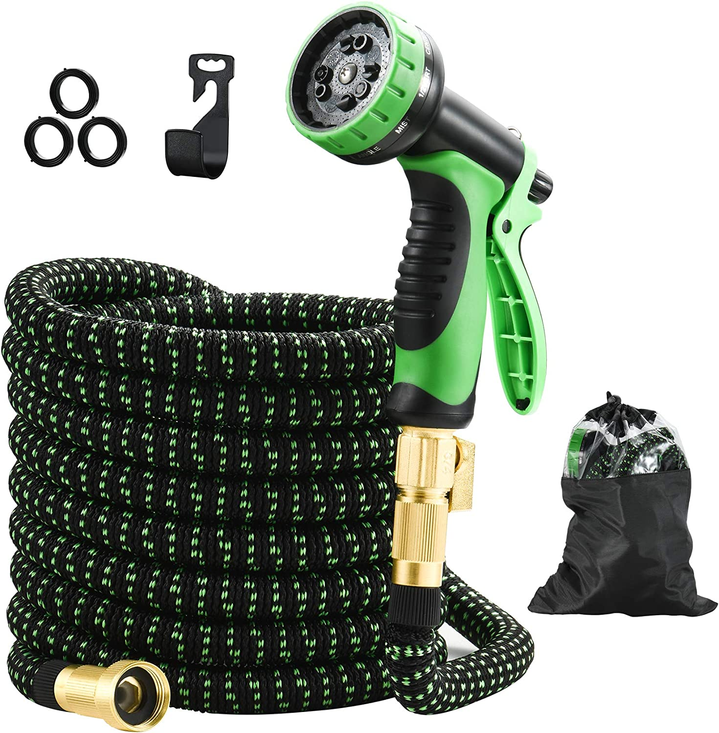 STULANBO 50ft Expandable Garden Hose, Water Hose with 3/4 lnch Solid Brass Connectors, Flexible Garden Hose with 10 Function Spray Nozzle Extra Strength Fabric-Convenient Storage