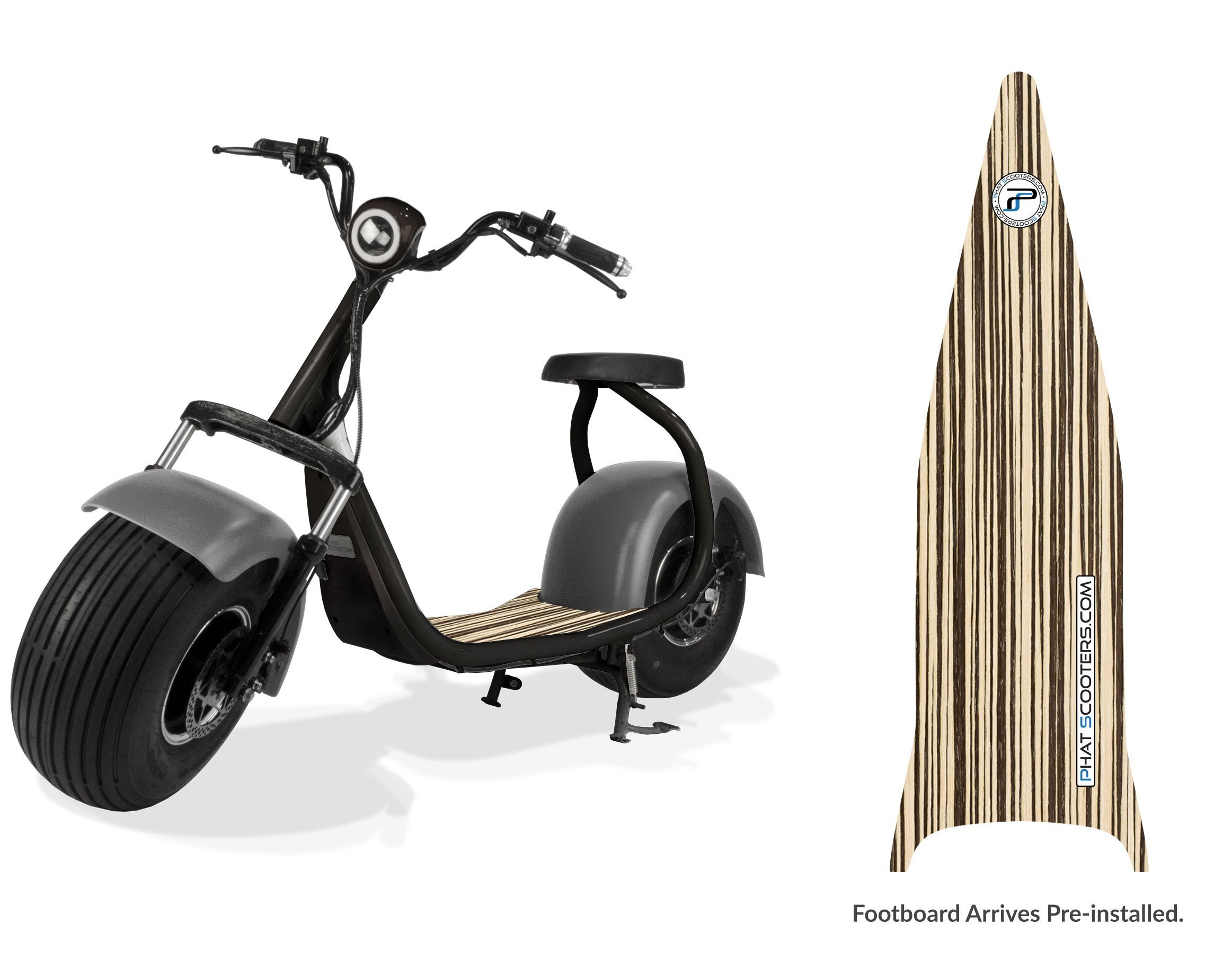 PHAT SCOOTERS - Phatty Sport Electric Scooter - Matte Black Frame - Gunmetal Fenders - Light Wood Deck by PHAT SCOOTERS