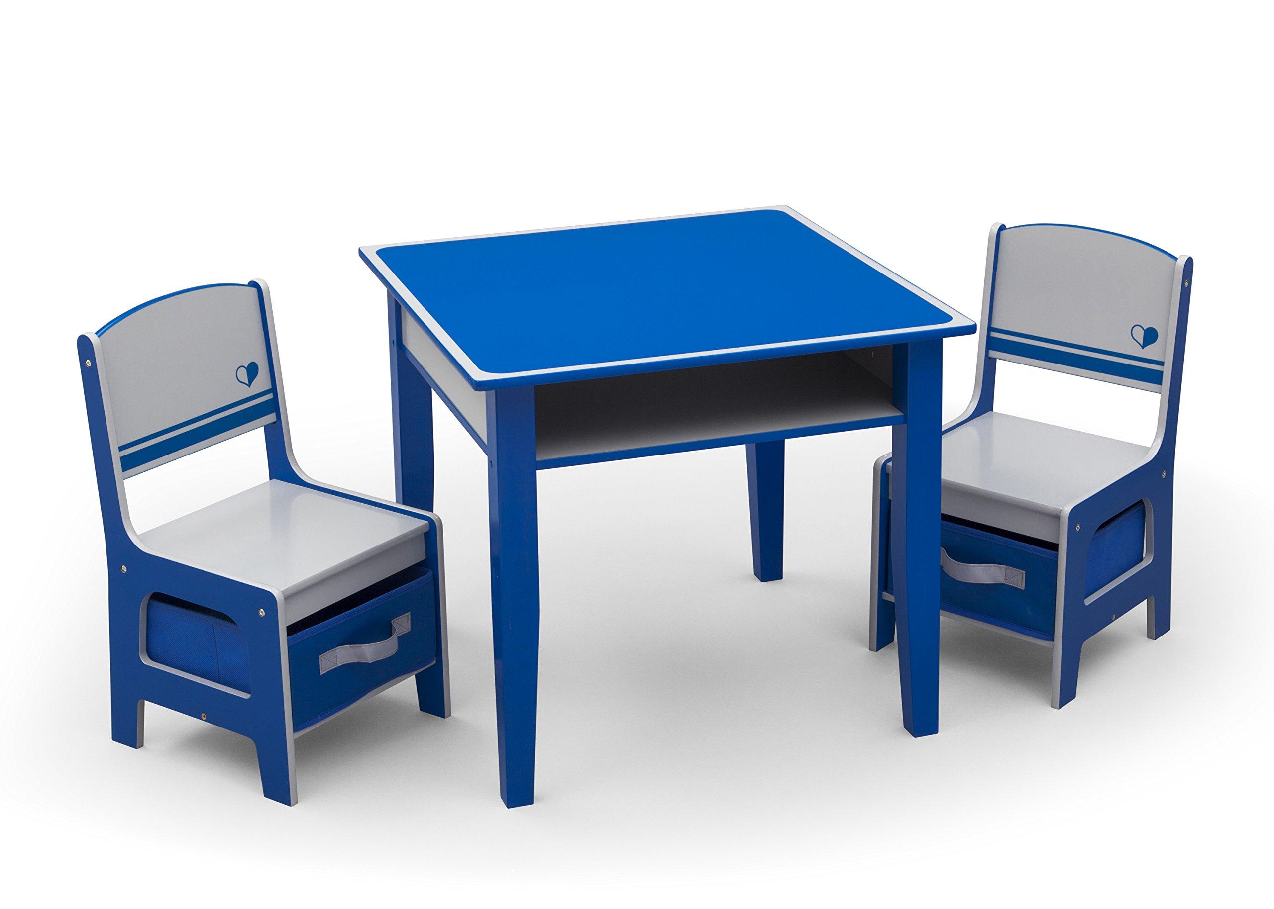 Delta Children Jack & Jill Storage Table & Chair Set, Blue/Grey