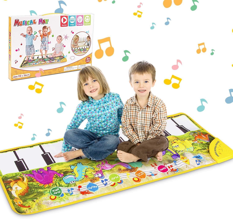 Alfombra para Piano, Alfombrilla Musical Estera de Baile, Alfombra de Teclado Táctil Musical 10 Melodías 8 Instrumentos, Alfombra de Baile Táctil para Niño, Niña Regalo (Dinosaurio) 108.5 * 36.5cm