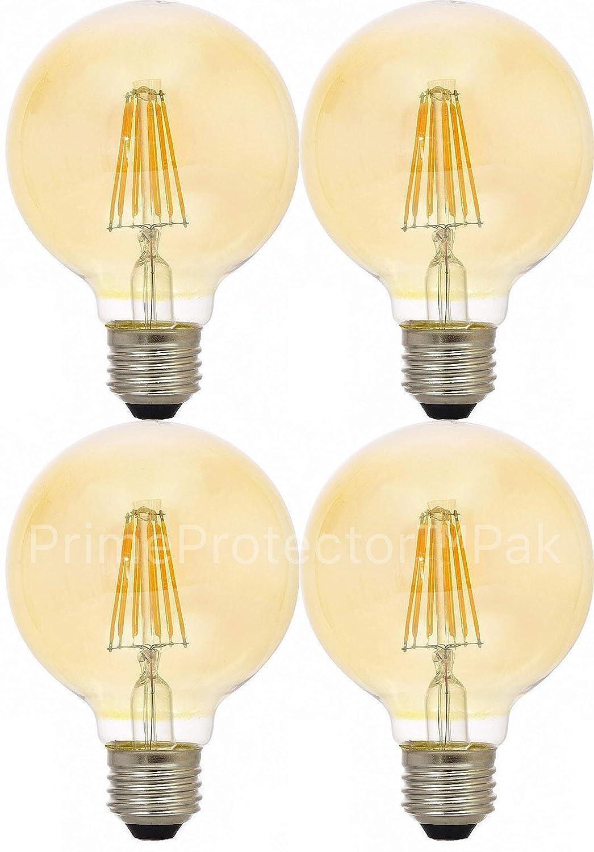 Sylvania 79601 - Juego de 4 bombillas LED (4 unidades, 40 W, equivalente a globo G25 E26, base mediana, filamento Edison de cristal ámbar, estilo antiguo, ...