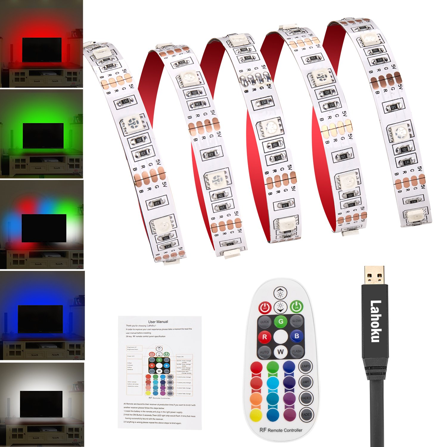 LED TV Backlight Kit RGB LED TV Strip light 5050 USB Bias Monitor Lighting Multicolor Lightings Strip with 28-key Remote Controller for 45~70in HDTV PC Monitor Home Theater Decoration