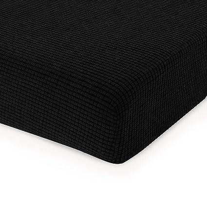 Chun Yi Jacquard Cushion Covers High Stretch Slipcover Furniture Protector For Sofa And Couch Seat Sofa Cushion Black