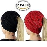 ALIPAPA BeanieTail Womens Ponytail Messy Bun Beanie Solid Ribbed Hat Cap Of Pack