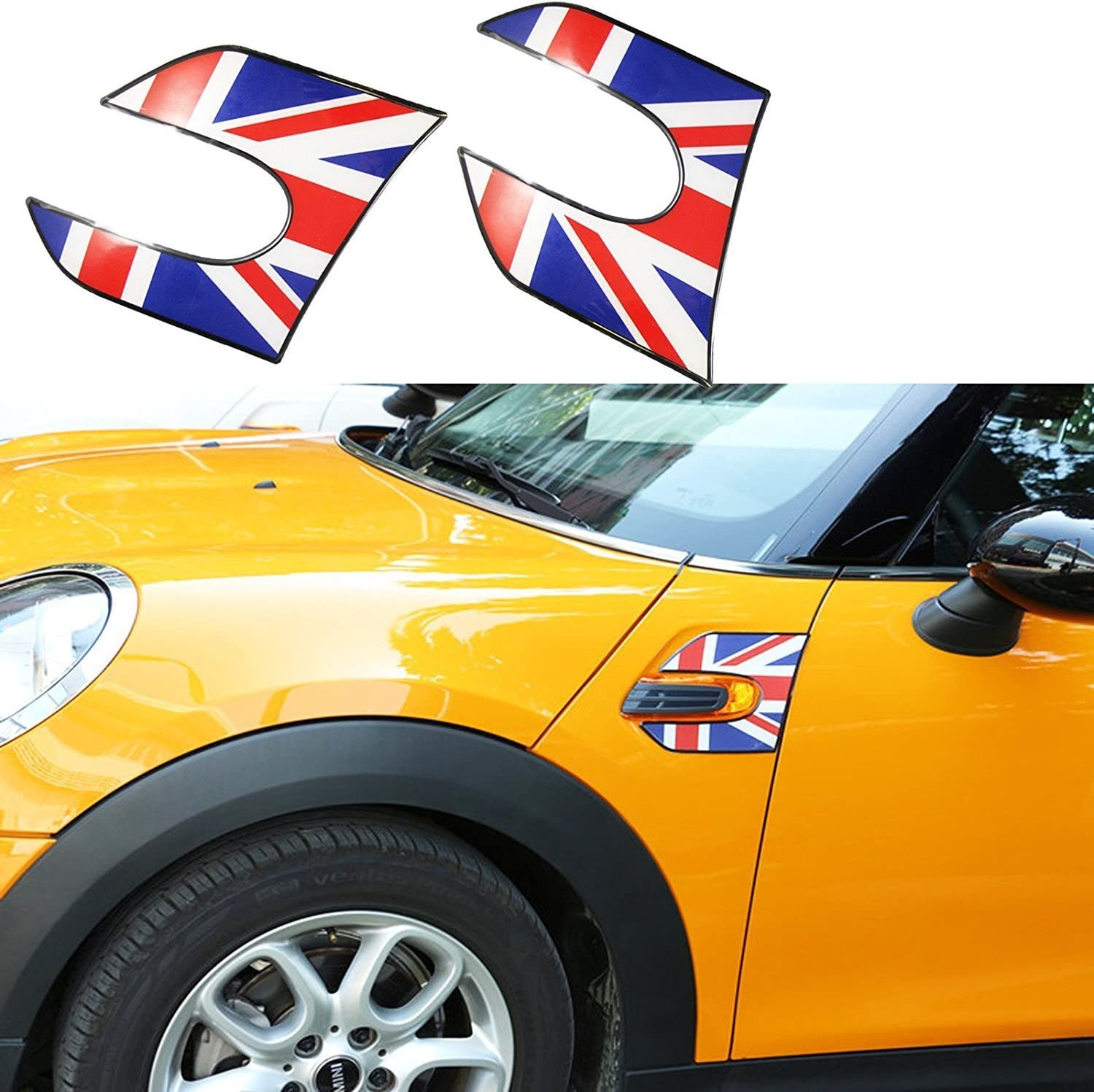 Fender Trim Xotic Tech Replacement for Mini Cooper S F56 2014 2x Red Blue UK Union Jack Fender Side Scuttle Sticker Decal