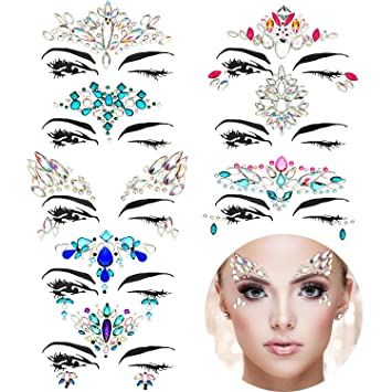 Amazon.com   TOODOO 8 Sets Face Gems Rhinestone Colorful Sticker Tattoo  Jewelry Stick on Face Festival Jewels for Forehead Body Decorations (Style  1)   ... 2af60409f72f