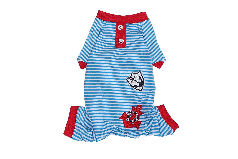 bluee S bluee S Cotton Striped Sailor Pajamas Pet Puppy Jumpsuit Dog Apparel (S, bluee)