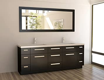 Design Element Moscony Double Sink Vanity Setwith Espresso Finish ...