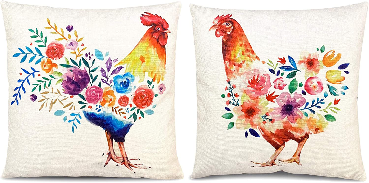 Vogue Homes Farmhouse Pillow Covers Rooster Pillows Decorative I Set of 2 Pillow Covers I Home Decorative Linen Pillowcases I Farm Throw Pillows I Chicken Pillow Cover