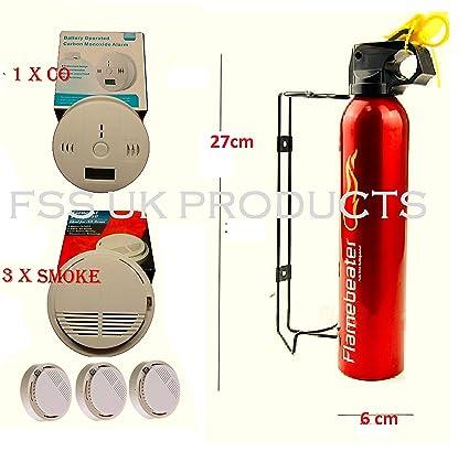 Seguridad en el hogar Essentials Pack. Incluye soporte de extintor, humo alarma contra incendios X 3 + Co Detector ...
