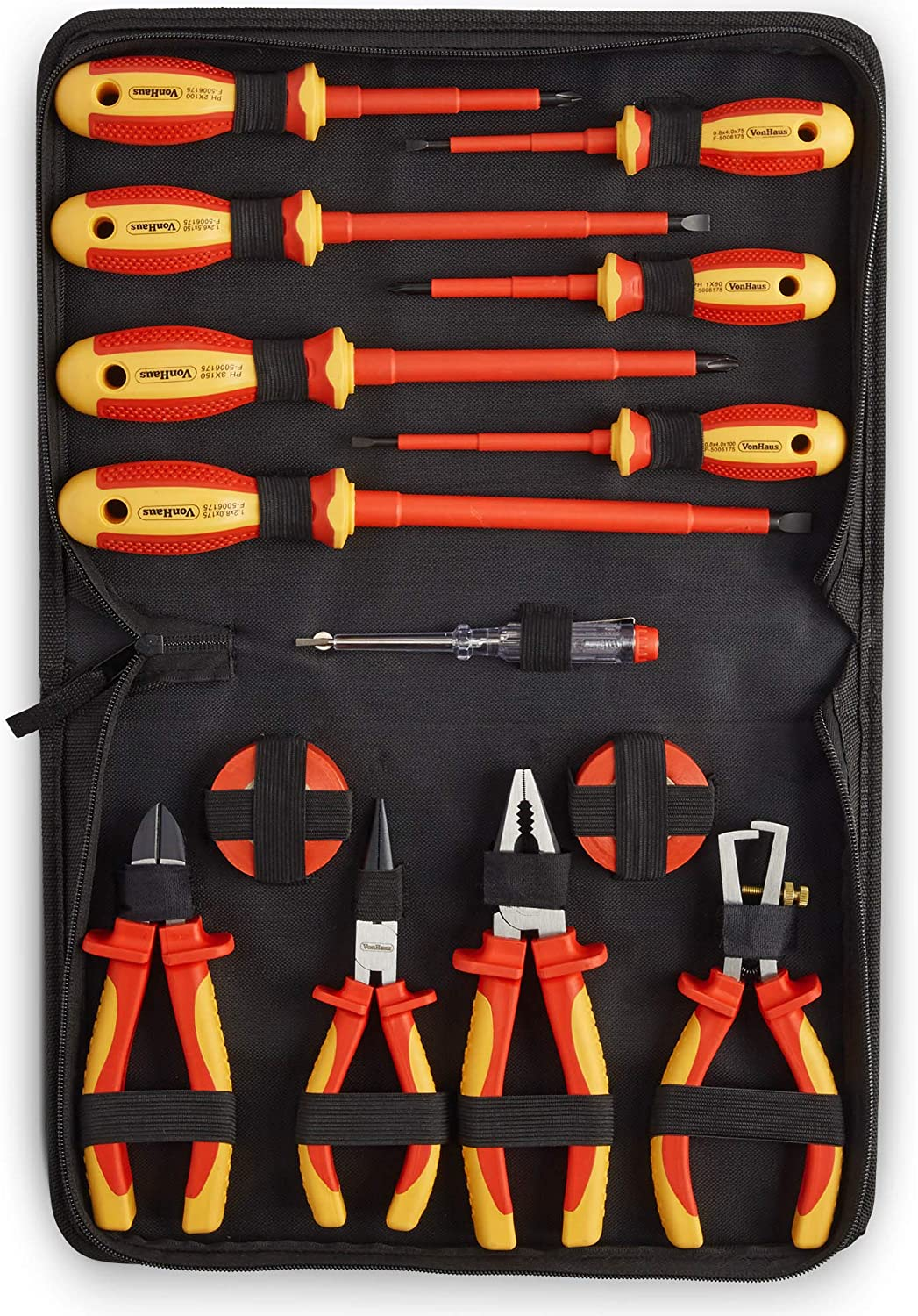 11Pcs Electricians Screwdriver Set Tool Fully Insulated Electrical Kit with Case