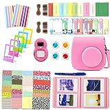 Accessori Fujifilm Instax Mini 9, Leebotree Pacchetto Camera Intero(Caso/Album/selfie Lente/Filtri/Cornici da appendere al muro/Pellicole/Adesivi per i bordi/Adesivi per gli angoli/Pennarello) (Rosa Flamingo)