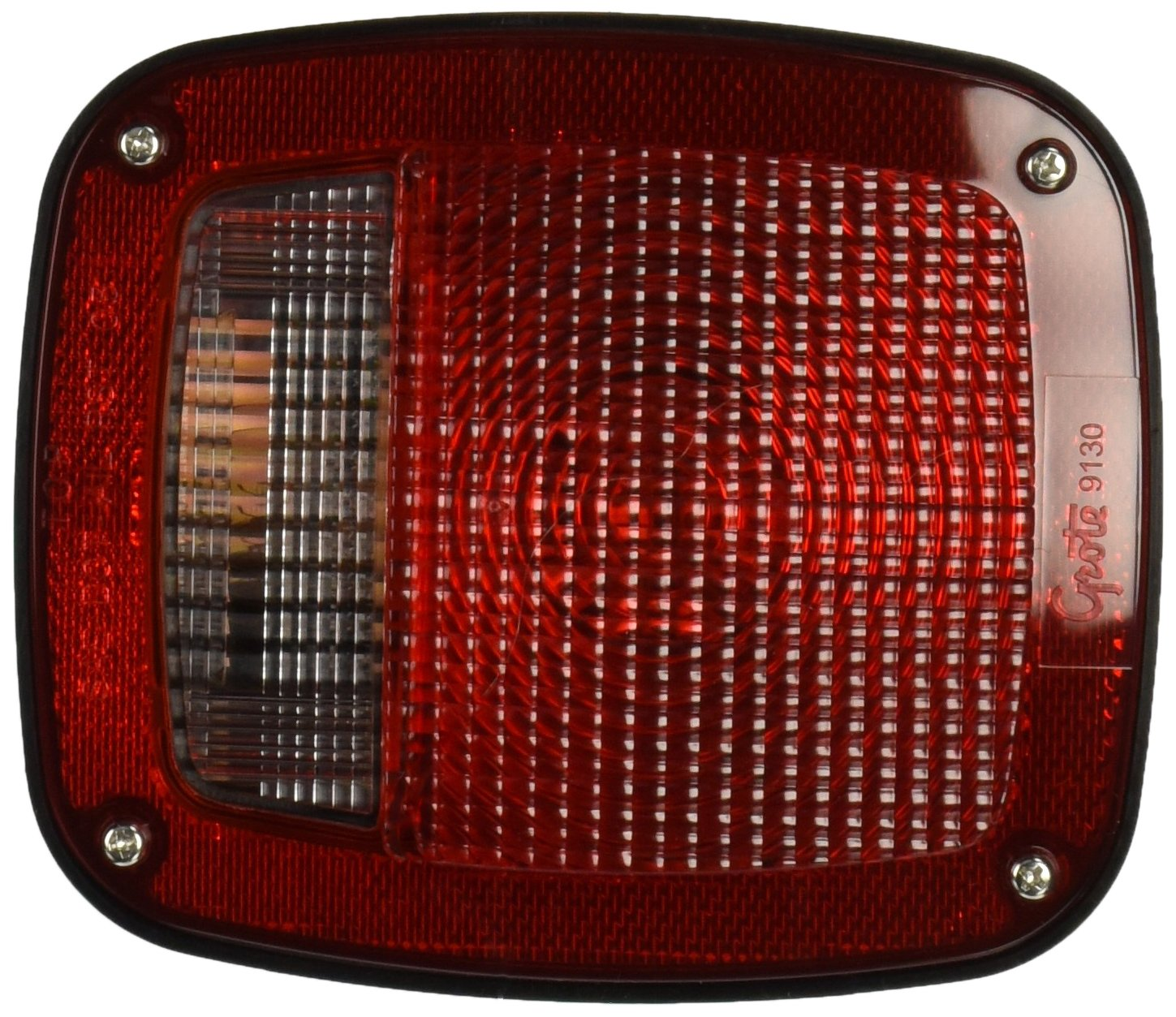 Grote 52822 Torsion Mount Two-Stud Stop Tail Turn Light (w/ Side Marker & Molded Pigtail Termination, w/out License Window, RH) by Grote
