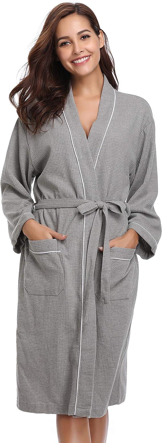 Gray Grey S//M Hotel Waffle Bathrobe Small//Medium Details about  /Kassatex Robe