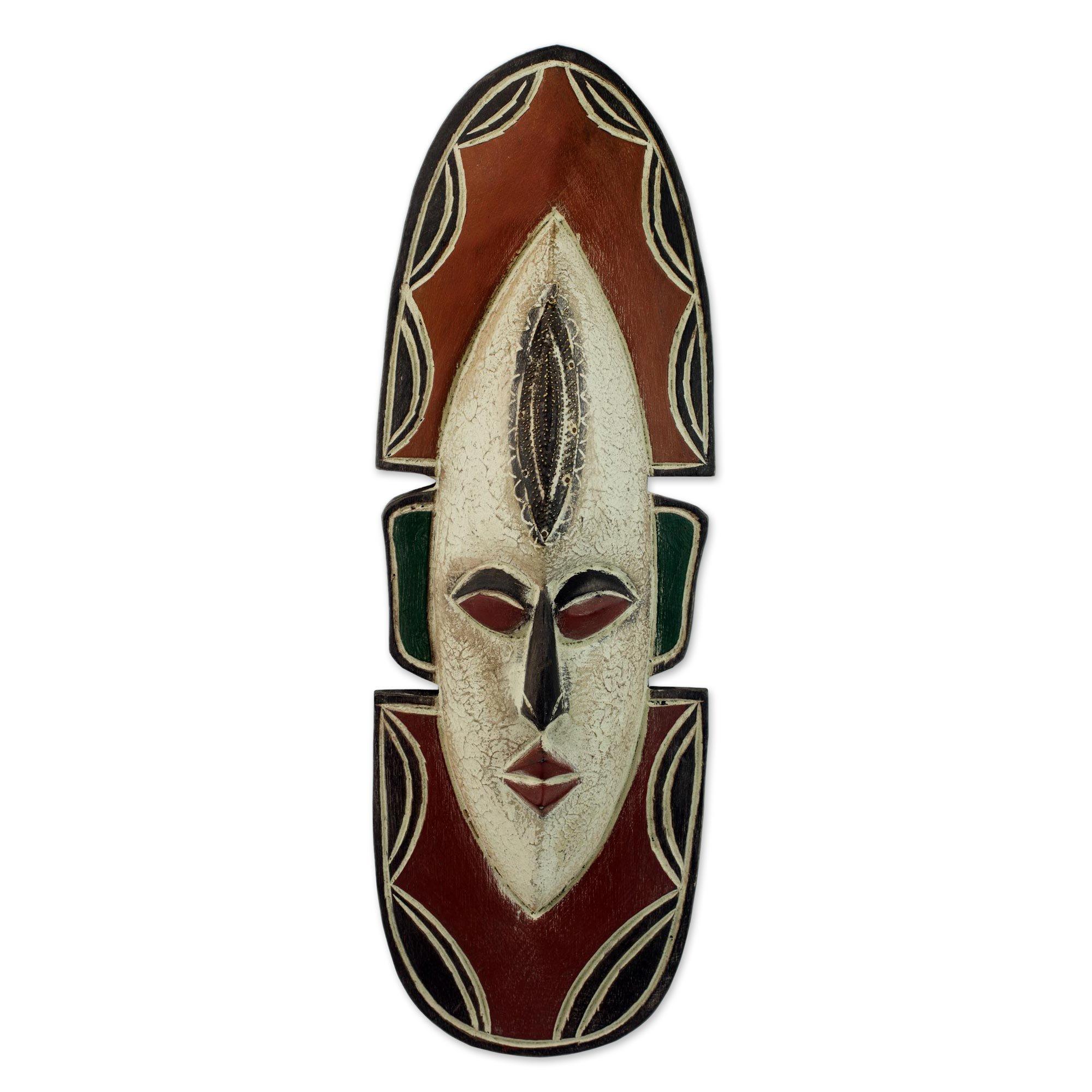 NOVICA Decorative Ghanaian Large African Rubber Wood Mask, Earthtone 'Love Me'