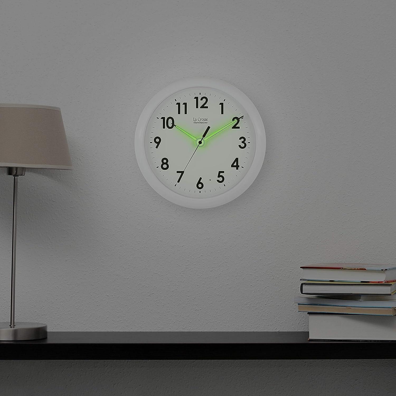 Outdoor Clocks La Crosse Illuminated 403-310 10 Inch White frame ...