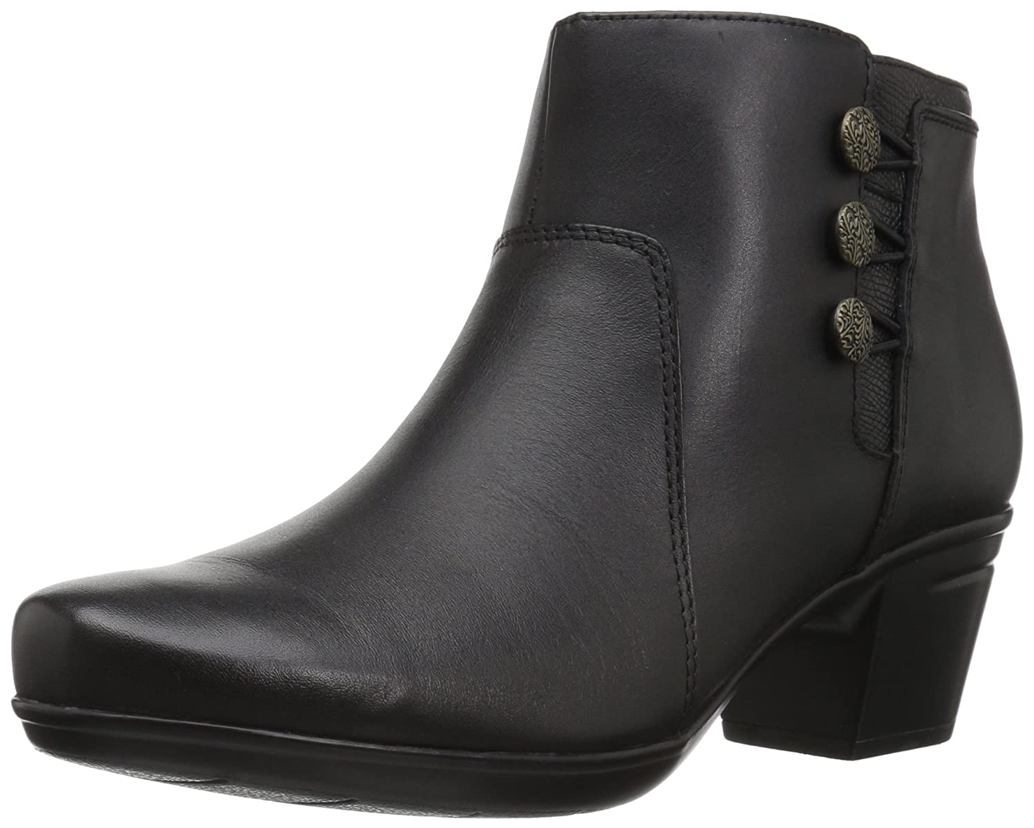 CLARKS Women's Emslie Monet Ankle Bootie B01MZ4YD81 7 W US|Black Leather