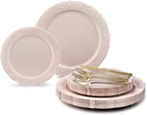 """"""" OCCASIONS"""" 150 pcs set (25 Guests)-Vintage Wedding Party Disposable Dinnerware Set Plastic Plates for Thanksgiving10.25'', 7.5'' + Silverware w/double fork (Portofino Light Pink, Gold Silverware)"""