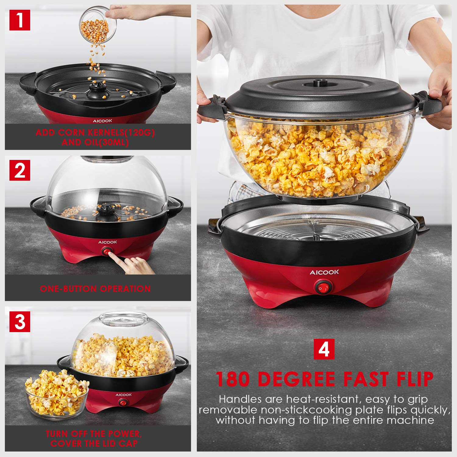 Popcorn Maker, AICOOK Electric Hot Oil Popcorn Popper Machine with Stirring Rod Offers Large Lid for Serving Bowl and Convenient Storage, 6-Quart, Red by AICOOK (Image #5)