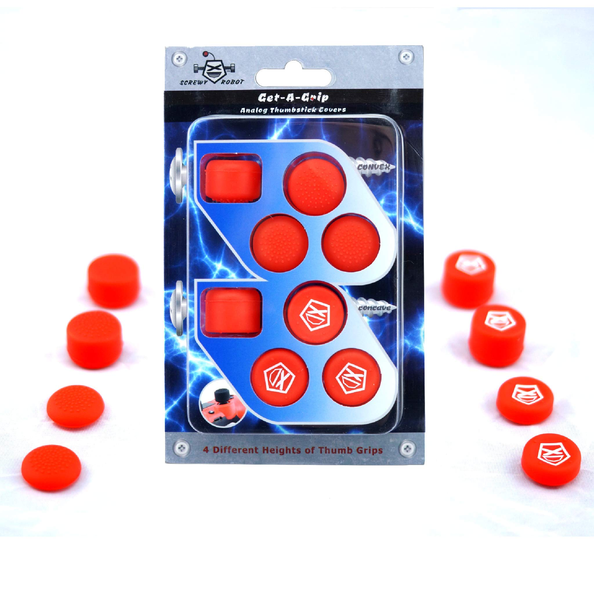 Get-A-Grip Analog Thumbstick Grip Covers for PS4/PS3 by ScrewyRobot (Red) by ScrewyRobot