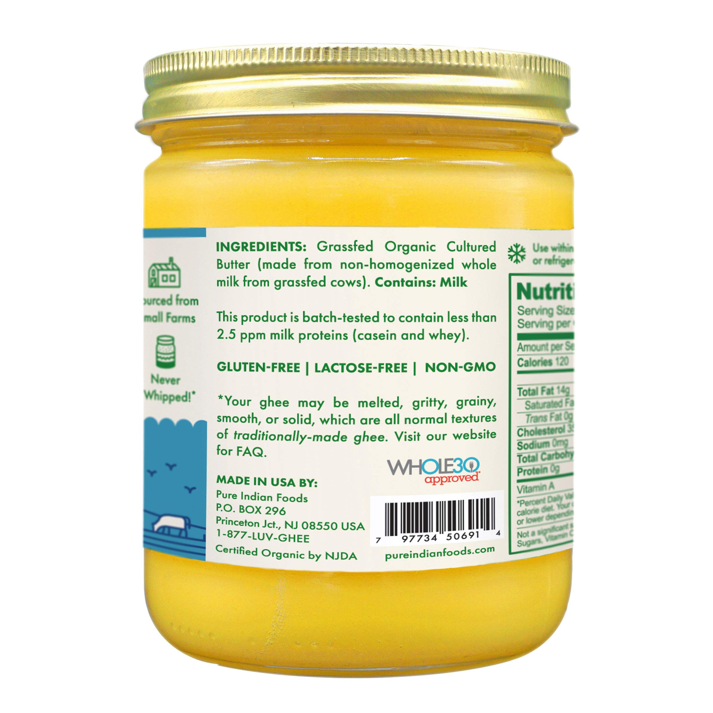Grassfed Organic Cultured Ghee 14 Oz. - Pure Indian Foods(R) Brand by Pure Indian Foods (Image #2)