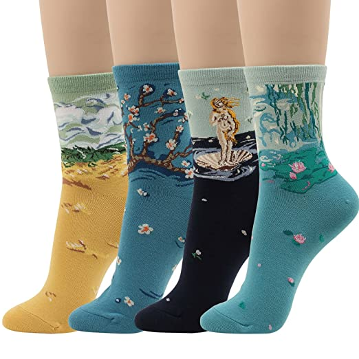 Women Novelty Dress Crew Cotton Socks Artist Painting calcetines (2.Famous Painting, Fit