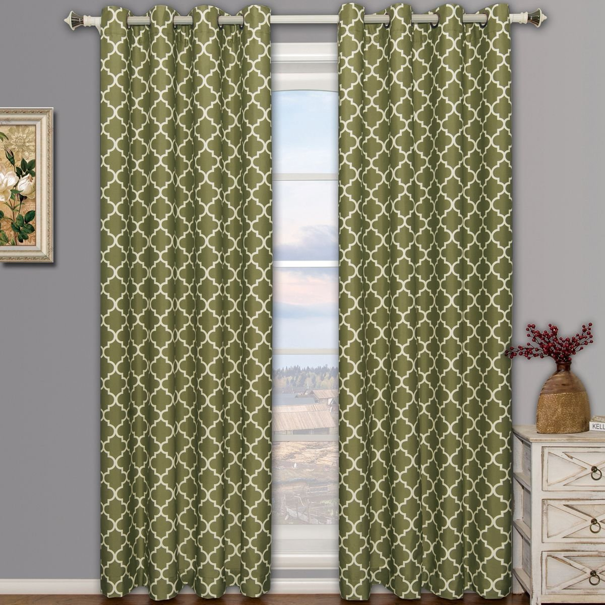 Meridian Green Grommet Room Darkening Window Curtain Panels, Pair / Set of 2 Panels