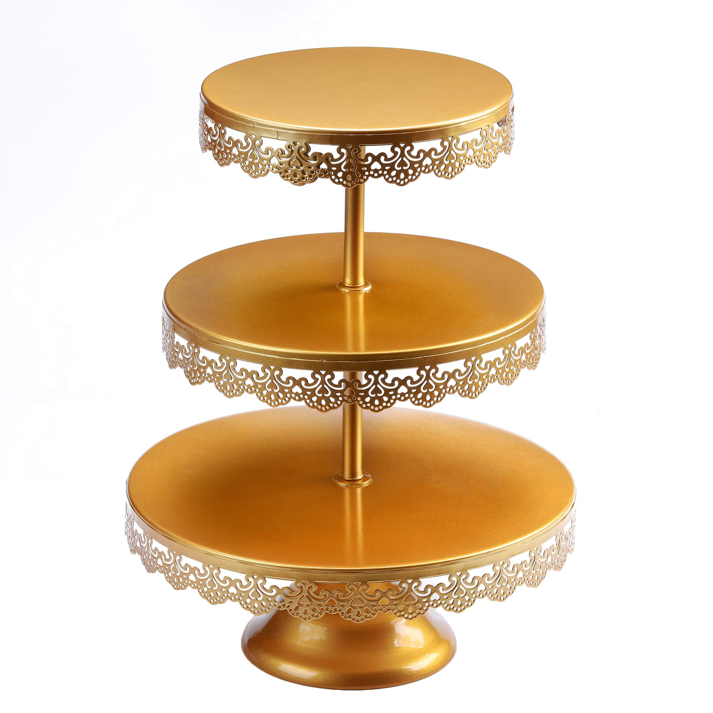 VILAVITA 3-tier Round Cupcake Stand Dessert Tower Iron Cupcake Holder Display Stand for Wedding Birthday Party Celebration, Gold