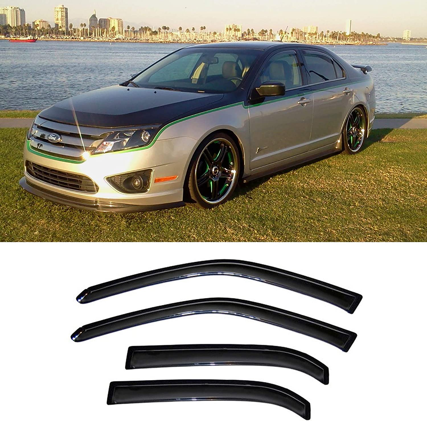 Light Tinted Out-Channel Vent Visor Deflector 4pcs For 2006-2012 Ford Fusion
