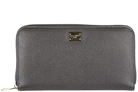 a4009c28cd4c Dolce   Gabbana portefeuille porte-monnaie femme deux plis zip around  dauphine gri