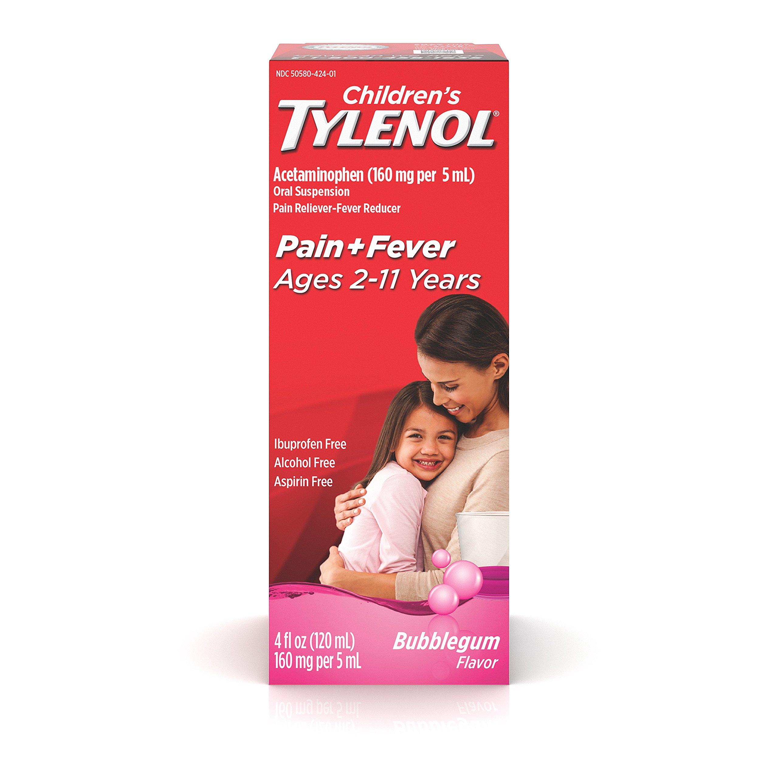 Children's Tylenol Oral Suspension, Fever Reducer And Pain Reliever, Bubblegum, 4 Fl Oz