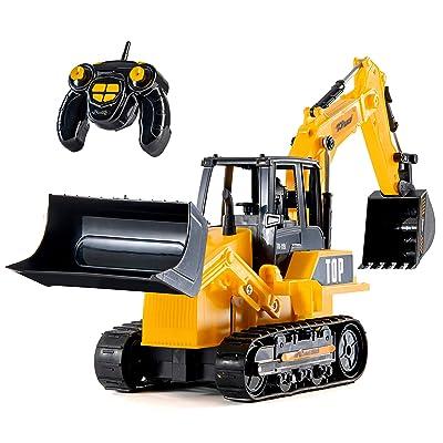 Top Race 8 Channel Full Functional RC Excavator Backhoe Loader