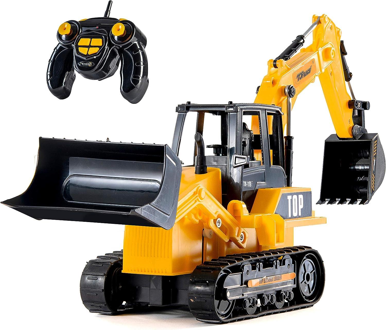 Top Race Cargador de retroalimentación de excavadora RC de 8 canales con funcionalidad completa, Tractor de construcción de control remoto eléctrico con pilas RC. TR-119