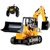 Top Race 8 Channel Full Functional RC Excavator Backhoe Loader, Battery Powered Electric RC Remote Control Construction…