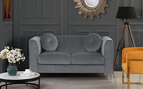 DIVANO ROMA FURNITURE Classic and Traditional Living Room Marilyn Velvet Loveseat with Tufted Accent Pillows (Grey)