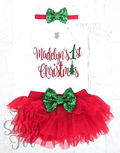 9720a1681 Amazon.com: Baby Girls 1st Christmas Outfit, 1st Christmas Outfit,  Personalized First Christmas Bodysuit: Handmade
