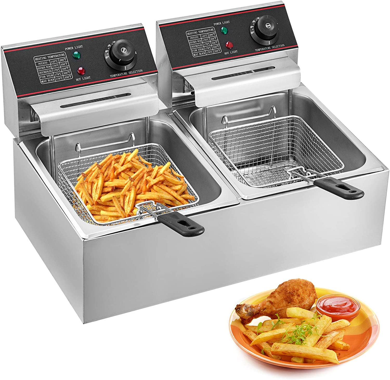 ZTBXQ Home Appliances Kitchen Tools Deep Fryer Commercial Electric Fryer 20L 3000W Twin Basket Electric Dual Tank Countertop Stainless Steel French Fry (20L Dual Tank YB-102V)