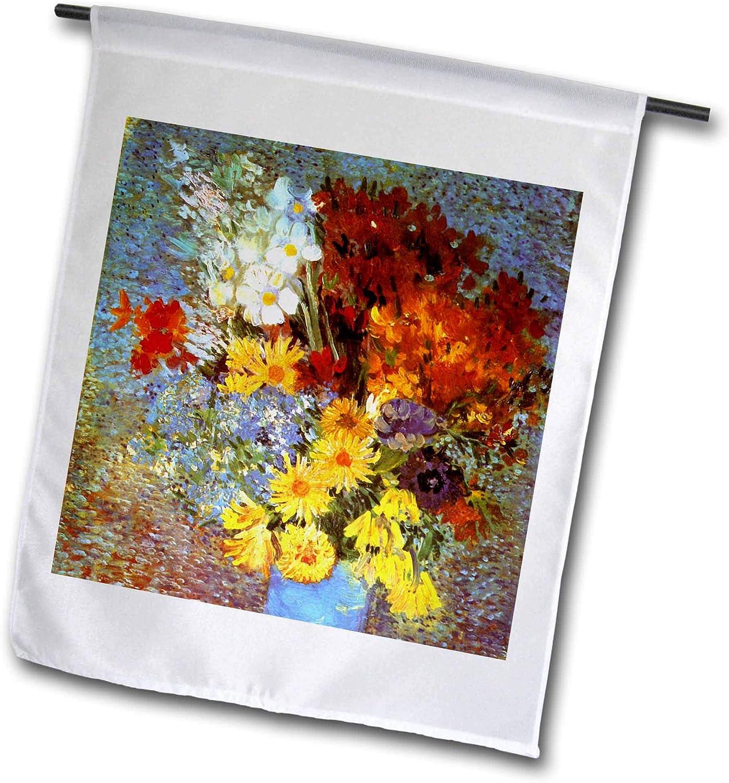 3dRose VintageChest – Masterpieces - Van Gogh - Vase with Marguerites and Anemones - 12 x 18 inch Garden Flag (fl_303201_1)