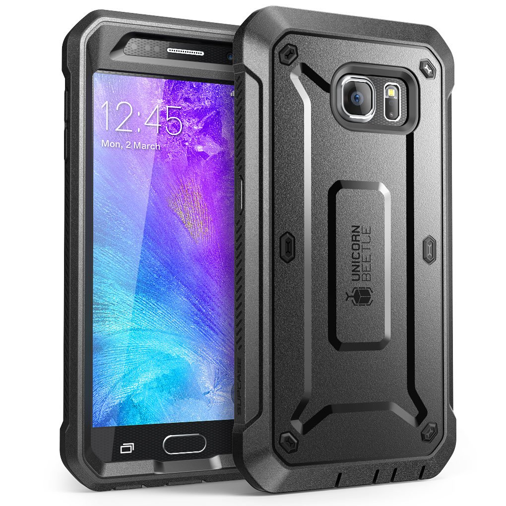 Galaxy S6 Case, SUPCASE Full-body Rugged Holster Case with Built-in Screen Protector for Samsung Galaxy S6, Unicorn Beetle PRO Series - Retail Package (Black/Black)