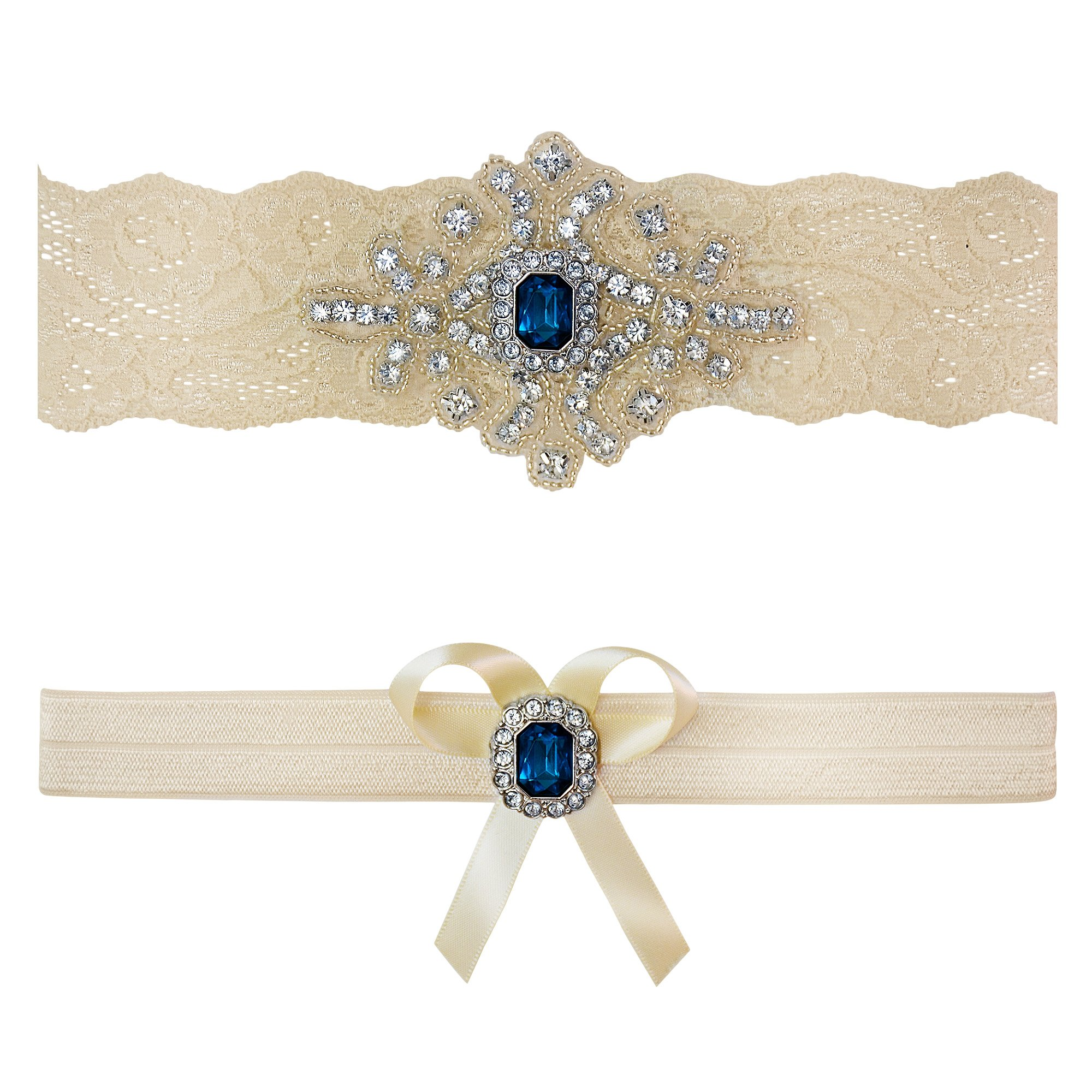 Ivory Sapphire Blue Wedding Bridal Garter Set Keepsake Toss (Small (16'' - 17''))