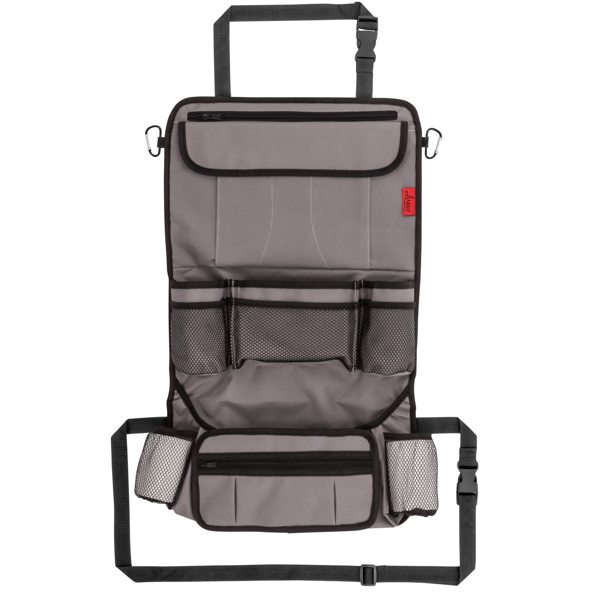 Car Back Seat Organizer with Larger Protection & Storage - 12 Compartments Including iPad Holder, Reinforced Corners to Prevent Sag, Eco Friendly Materials - Great Travel Accessory for Kids by Lusso Gear