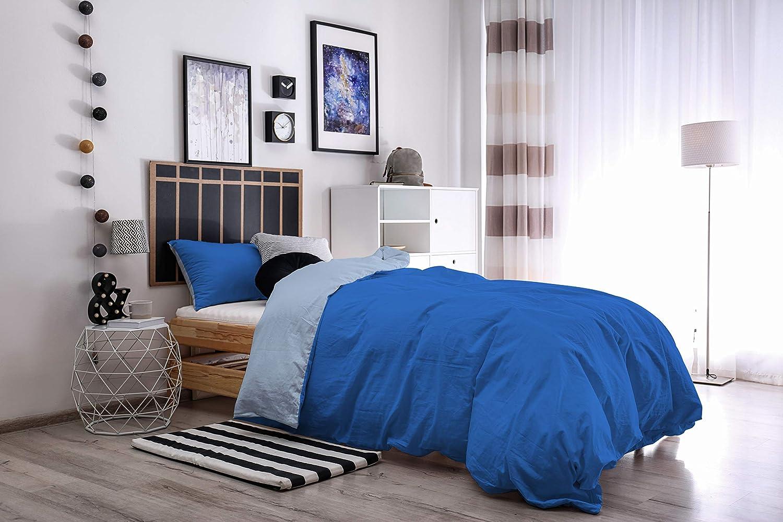 100//% Algod/ón 1 Plaza Verde /àcido//Humo Italian Bed Linen CPNCVERDEACIDOFUMO1P Natural Doble Color y Funda de Almohada