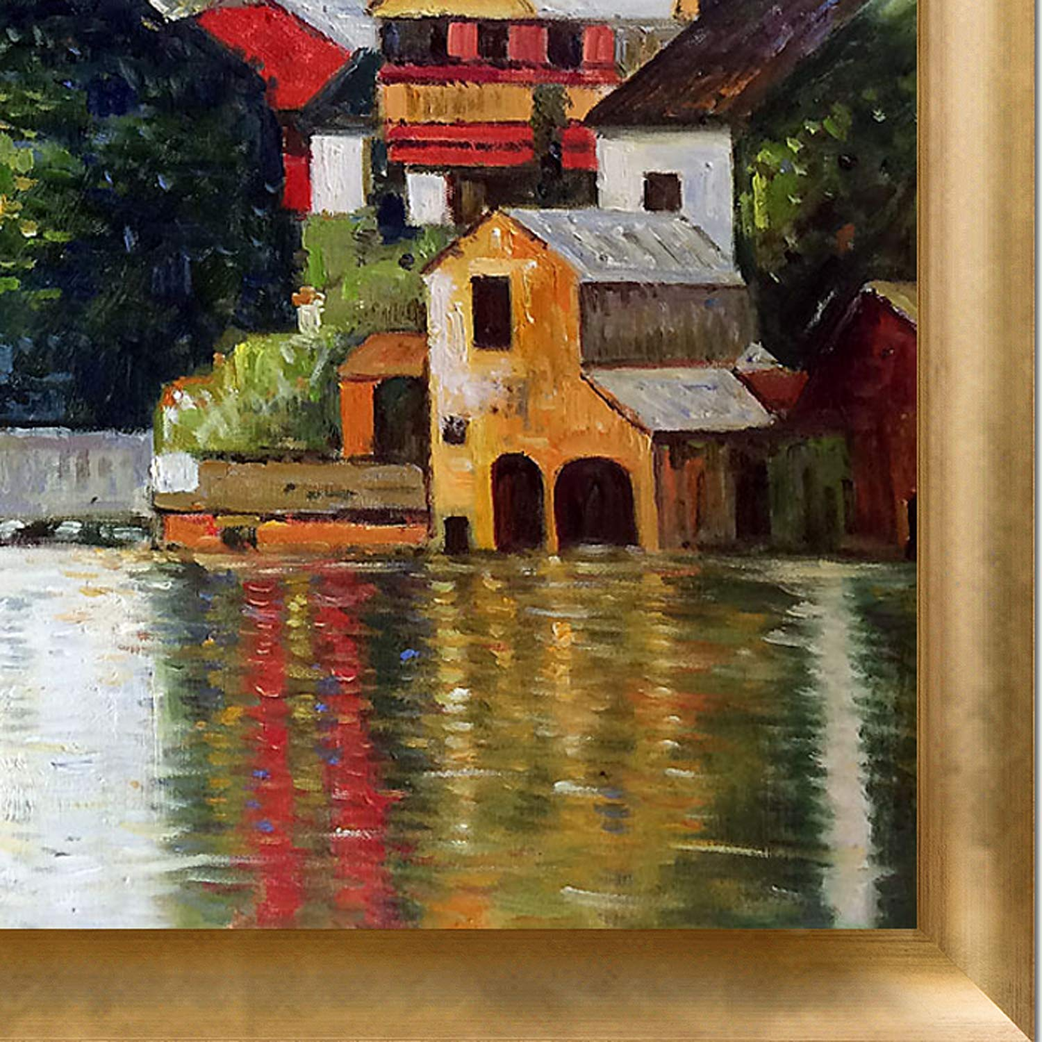 Multi-Color 27 x 23 La Pastiche Church in Unterach on The Attersee with Gold Luminoso Framed Oil Painting