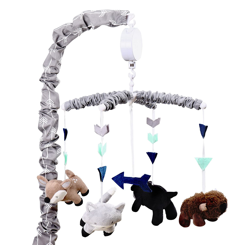 Navy Blue Plaid Woodland Trail 4 Piece Forest Animal Theme Patchwork Baby Boy Crib Bedding Set