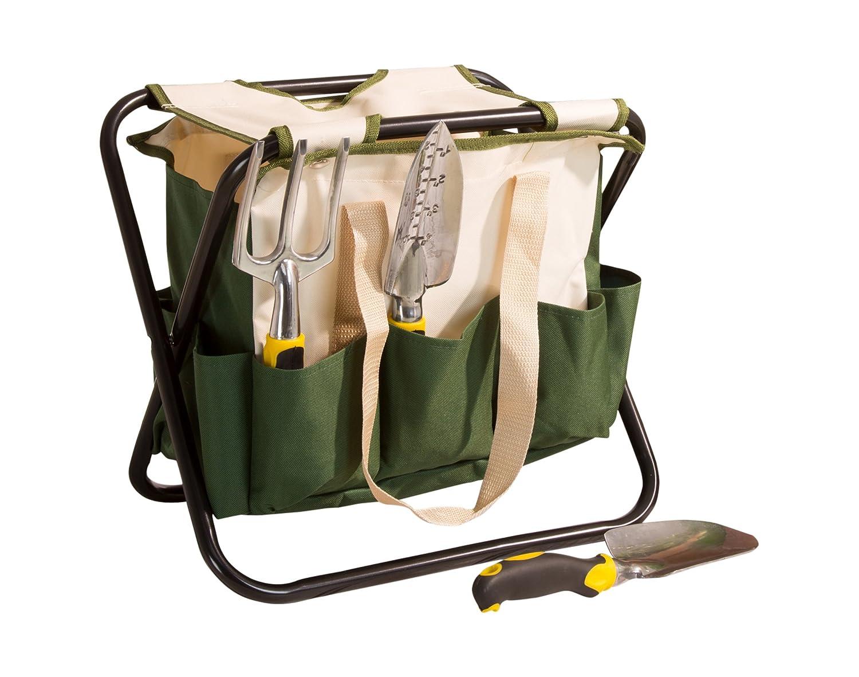 Pure Garden Folding Garden Stool with Tool Bag 9 Storage Pockets