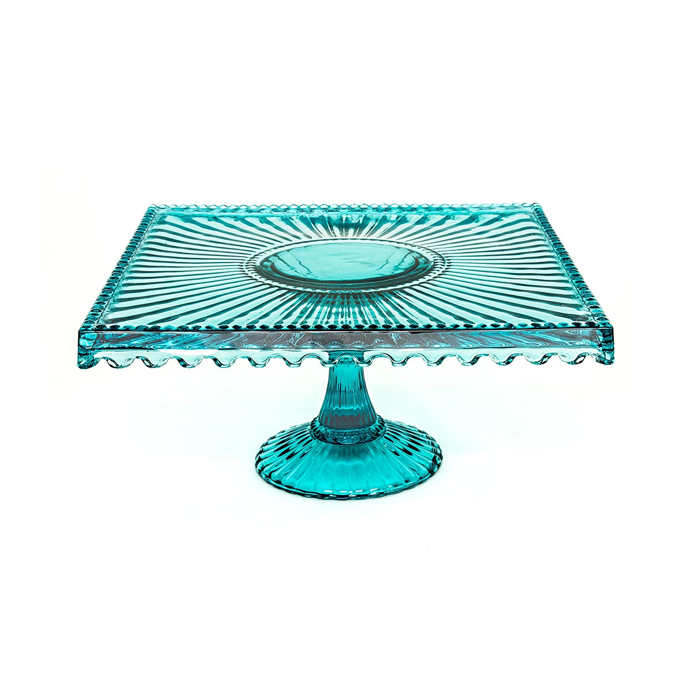 Loire Glass Square 10 inch Cake Stand - Blue
