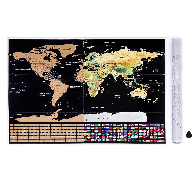 Homein Weltkarte Zum Rubbeln Scratch Off World Map Geschenke Reisen Poster Landkarte mit Fahnen Travel Karte Zum Freirubbeln auf Englisch Schwarz Gold 82 x 59 cm HOMEIN CO. LTD