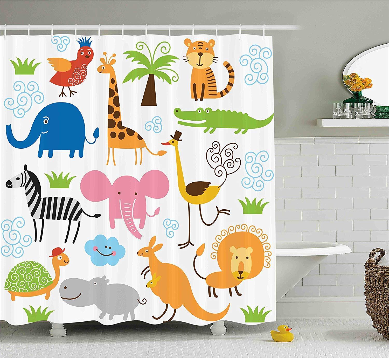Printing Animal Shower Curtain, Cute Giraffe Elephant Zebra Turtle Kids Nursery Baby Themed Cartoon Comic Print, Polyester Fabric Waterproof Machine Washable with 12 Hooks, 72 x 84 Inches White Orange